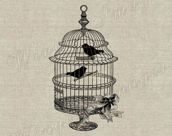 Vintage Birdcage with Birds. Instant Download Digital Image No.310 Iron-On Transfer to Fabric (burlap, linen) Paper Prints (cards, tags)