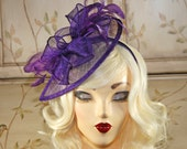 Purple Fascinator - Purple Kentucky Derby Hat -   British Tea Party Fascinator Hat - Wedding Fascinator - Sinamay Fascinator