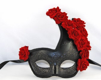 Black Masquerade Mask with Red Roses - Costume Ball Mask -  Black & red Mask - Party Mask - Mardi Gras Mask - Gothic Mask