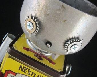 Nestle Boy Bot - found object robot sculpture assemblage by Cheri Kudja with Bitti Bots