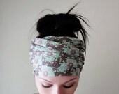 FLORAL Head Wrap - Botanical Head Scarf - Floral Hair Wrap - Yoga Headband - Extra Wide Jersey Head Scarf - Ecoshag Hair Accessories