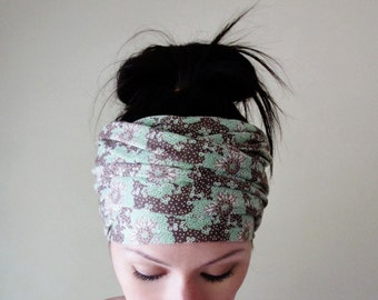 FLORAL Head Wrap - Botanical Head Scarf - Floral Hair Wrap - Yoga Headband - Extra Wide Jersey Head Scarf - Ecoshag Hair Accessories