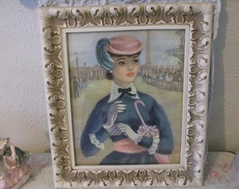 Beautiful French Lady Ornate Bouquet Picture Frame Paris Shabby Cottage