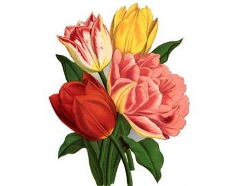 Vintage Floral Tattoo - Botanical Floral Temporary Tattoo - Flower Tattoo - Tulip Tattoo Art
