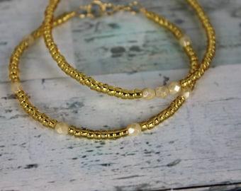 Gold/Cream Beaded Bracelets