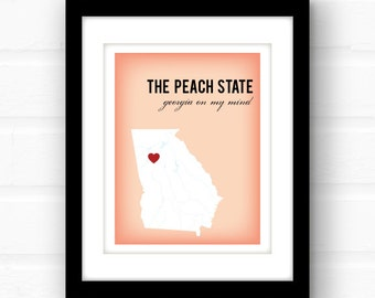 Georgia peach art // Georgia on my mind // Atlanta, Georgia art // Georgia print // custom state wall art