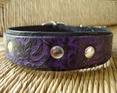 """Violet and Black Leather Dog Collar. 1 1/4""""  Bridle Leather Double Layered Collar. Western Vine Design."""