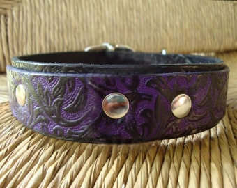 "Violet and Black Leather Dog Collar. 1 1/4""  Bridle Leather Double Layered Collar. Western Vine Design."