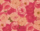 """62505 -  Martha Negley Rose Garden PWMN067 Packed rose in natural color cotton fabric- last 31"""" short yard"""