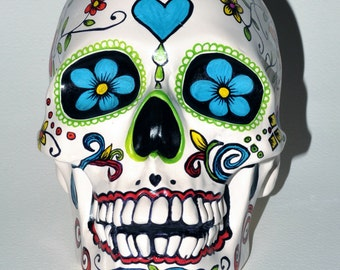 One of a kind life size ceramic skull FLORESTA Day of the Dead