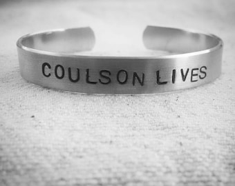 Coulson Lives: Hand Stamped Agents of S.H.I.E.L.D. Aluminum Marvel Fangirl Cuff