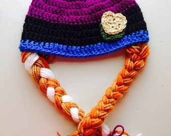 Baby Toddler Girl Princess ANNA Inspired FROZEN Crochet Hat With Braids ~ You Pick Size: Newborn to 10yrs - Cute Winter Hat