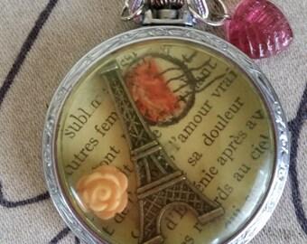 Paris--Recycled Paris Pocket Watch Case Necklace