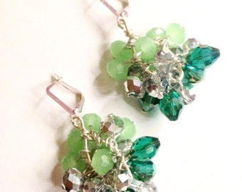 Dangle crystal earrings // silver earrings // ready to ship