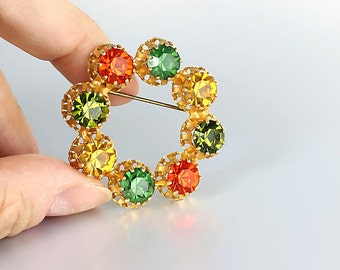 Multicolor Brooch, Orange Green Yellow Rhinestone Brooch, Foliage colors, signed Austria Circle Wreath vintage jewelry