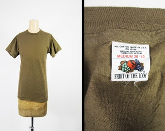 Vintage 70s Fruit of the Loom T-shirt Olive Green Undershirt Made in USA All Cotton - Medium