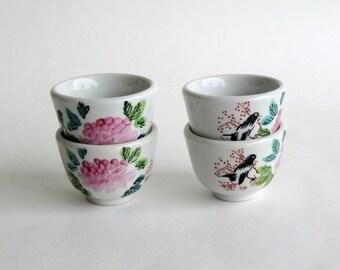 Vintage F.S. Louie Berkeley Asian Tea Sake Cups Vintage Pink Flower Blackbird Restaurantware