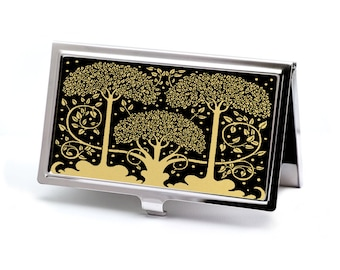 Art Nouveau Trees Business Card Case, Black on Gold Credit Card Case, Retro Slim Metal Wallet, Deluxe Corporate Gift, Office Accessory
