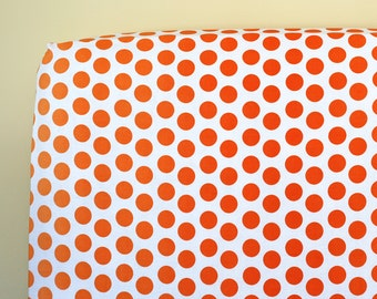 Orange Crib Sheet, Neutral Baby Bedding, Ombre Dot Orange Crib Bedding, Baby Girl Nursery Bedding, Baby Boy Nursery Bedding