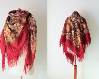 Russian Scarf - Vintage Burgundy Scarf with Fringes - XXL Scarf