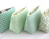 Six Makeup Bag Bridesmaid Gifts: Pastel Seafoam and Mint Green Cosmetic Bags, Bulk Order Pricing, Custom Wedding Colors, Wedding Favor