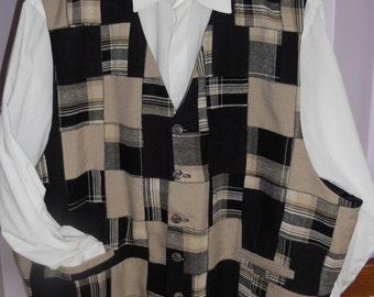Patchwork men's clasic vest - size 4XL mens vest , ready to ship