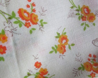 Vintage Pale Yellow  with Orange Flower Clusters and Butterflies Cotton Blend Fabric  , Vintage Textiles, Vintage Material