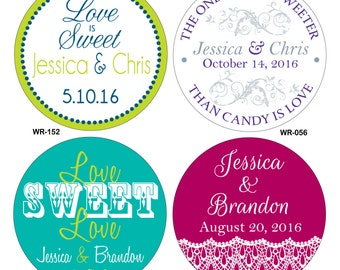 120 - 2.5 inch Custom Glossy Waterproof Wedding Stickers Labels - hundreds of designs to choose - change designs to any color or wording