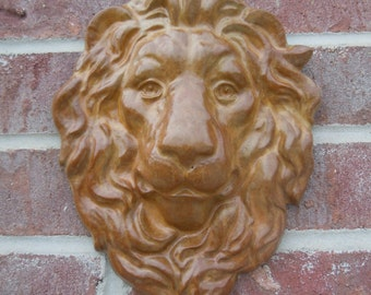 Concrete Lion Face Plaque - stained,  Shipping Icluded