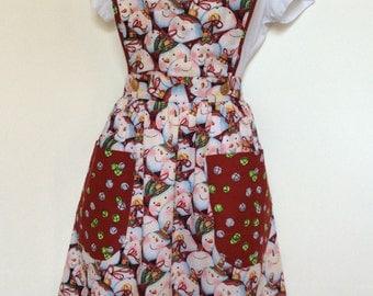 Handmade ladies vintage inspired 1940s full Christmas apron