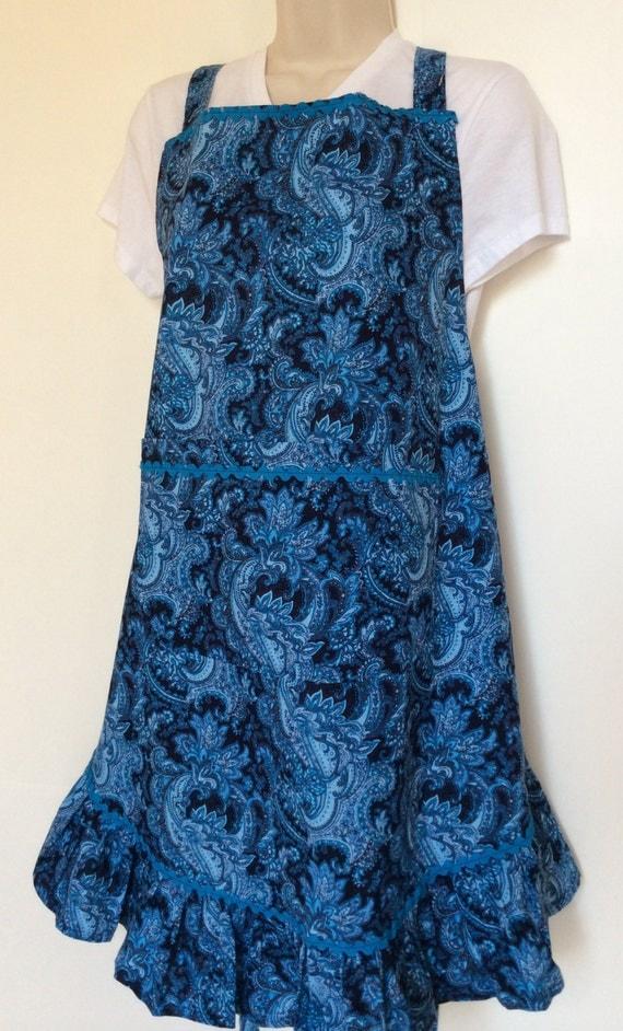 Ladies blue paisley ruffled  full apron