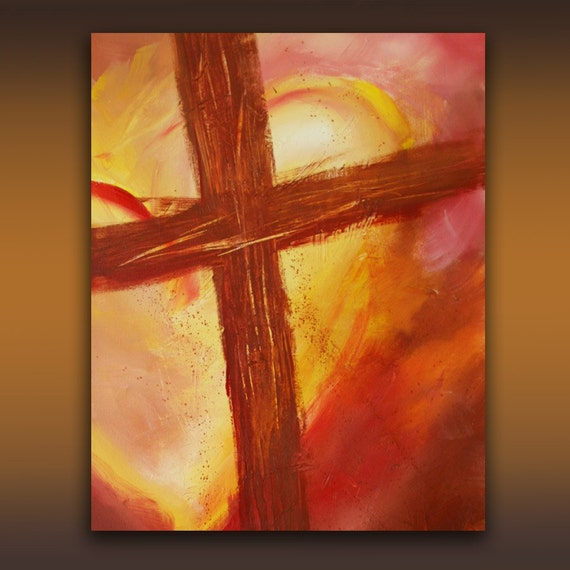 Original 24 x 36 acrylic abstract cross painting by for Cross paintings on canvas