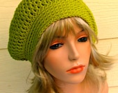 Green grass slouch hat, winter slouch hat, womens hat, crochet beanie, green beanie, baggie beanie, hats and caps, skull caps and beanies