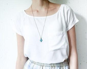 Turquoise necklace, geometric necklace, pendentif