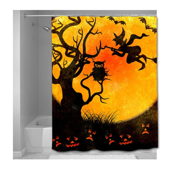 Items Similar To Halloween Scene Shower Curtain Choice Of Sizes On Etsy