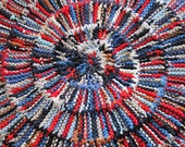 Circular Rag Rug Americana Nautical Red White Blue Round Modern Nursery Navy Blue Upcycled T Shirt 44in diameter --US Shipping Included