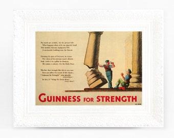 7x5 Guinness for Strength Print Original Advertisement Book Plate Ireland Brewerania Advert Gilroy Illustration Sculptor Builder