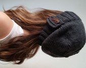 Knit slouchy hat with button/s - CHARCOAL GRAY (more colors available - made to order)