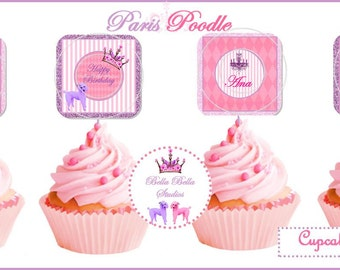 PARIS POODLE Cupcake TOPPERS - Personalized Printable Download