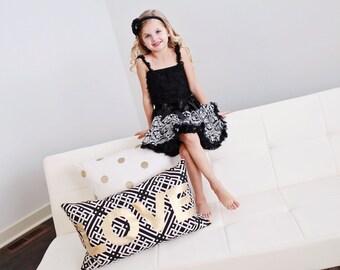 Black and white Petti skirt, ruffle tank, and matching headband