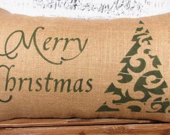 Merry Christmas burlap pillow with Christmas tree
