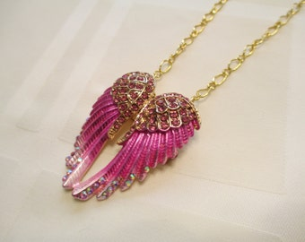 Angel Wings Necklace/Pin in Pink