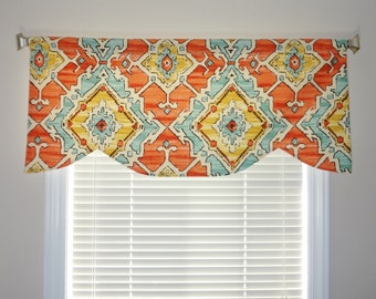 SALE Scalloped Curtain Valance Topper Window Treatment Orange Blue Southwestern Geometric Scalloped Valance Custom Sizes