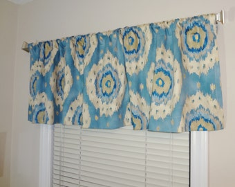 SALE Curtain Valance Topper Window Valance 52x15 Blue Metallic Gold Tan Ikat Valance