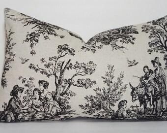 Black Natural Toile Lumbar Pillow Cover Baby Nursery Throw Pillows Decorative 12x18 Lumbar