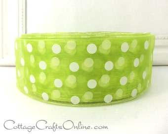 "Wired Ribbon, 2""  wide,  Lime Green Sheer with White Polka Dots  - THREE YARDS -  ""Sheer Dottie""  Craft Wire Edged Ribbon"