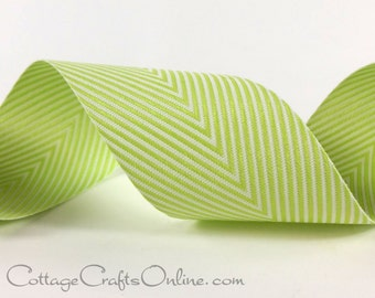 """Chevron Twill Tape, 1 1/2"""" Citrus Green Ribbon Striped, THREE YARDS, May Arts """"Celery"""", Spring,  Easter, Christmas, Packaging, Sewing Trim"""
