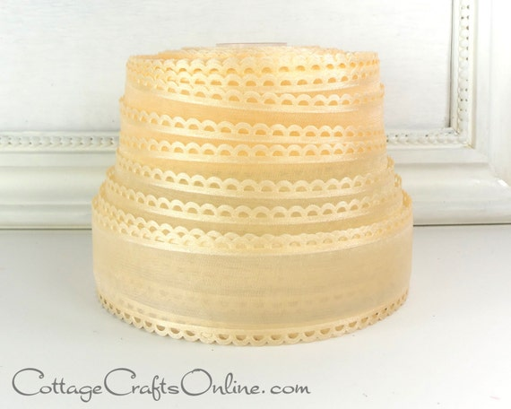 "Peach Sheer Ribbon, 1 1/2"" wide, Blush Scalloped Cut Work Edge - FOUR YARDS - Offray ""Options"" Blush Craft Ribbon, Unwired"