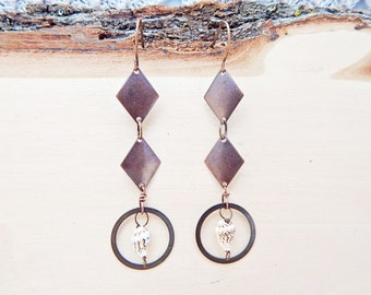 Copper diamond and shell earrings - long geometric earrings - sea shell jewelry
