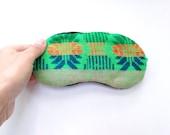 Mexican Sleep Mask - Green Mexican Fabric - Eyeshade Sleeping - Slumber  party Eye Mask Eye Pillow  - Wedding favor